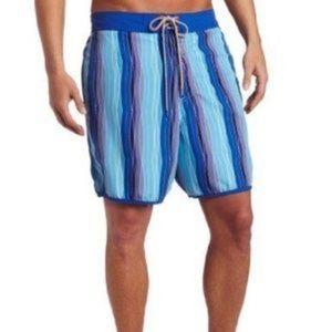 Ted Baker Blue Stripe Lined Swim Trunks Size XL